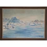 Alibak Johansen. 1921 - 2007.  Painting (Greenland, bay scenery)