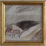 Jack Kampmann.  1914 - 1989 .  Crayon on paper (Faroe Islands,landscape)