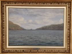 Frants Landt.  1885 - 1975 .  Painting (Faroe Islands, Vaag)