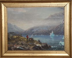 Evelyn Thorbjoern. 1911 - 1985. Painting (Greenland, fireplace)