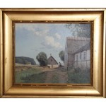 Niels Walseth.  1914 - 2001 .  Painting (Farmhouse idyl)