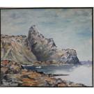 Alibak Johansen. 1921 - 2007 . Painting (Greenland, mountains)