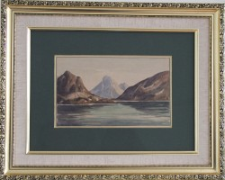 Emanuel Aage Petersen.  1894-1948 . Watercolour (Greenland, Godthaabsfjorden)