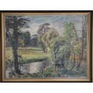 Niels Holbak. 1884 -1954. Painting  ( Creek scenery)