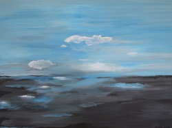 Birgitte Nora Frandsen.   1948 - .        Painting  (Puddles)