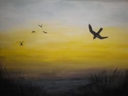 Birgitte Nora Frandsen.  1948 -    .  Painting  (Morning)