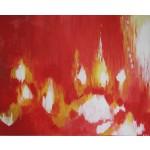Birgitte Nora Frandsen.  1948 -  .  Painting  (Bonfire)