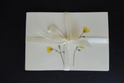 Flower cards with dried wild plants by NORA - rectangular with ribbon