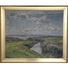 Niels Holbak.  1884 - 1954 . Painting  ( Coastal scenery)