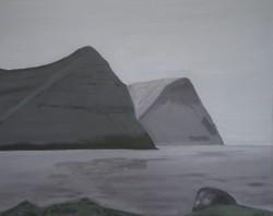Birgitte Nora Frandsen . 1948 - . Painting  ( Faroe Islands, Vidareidi )